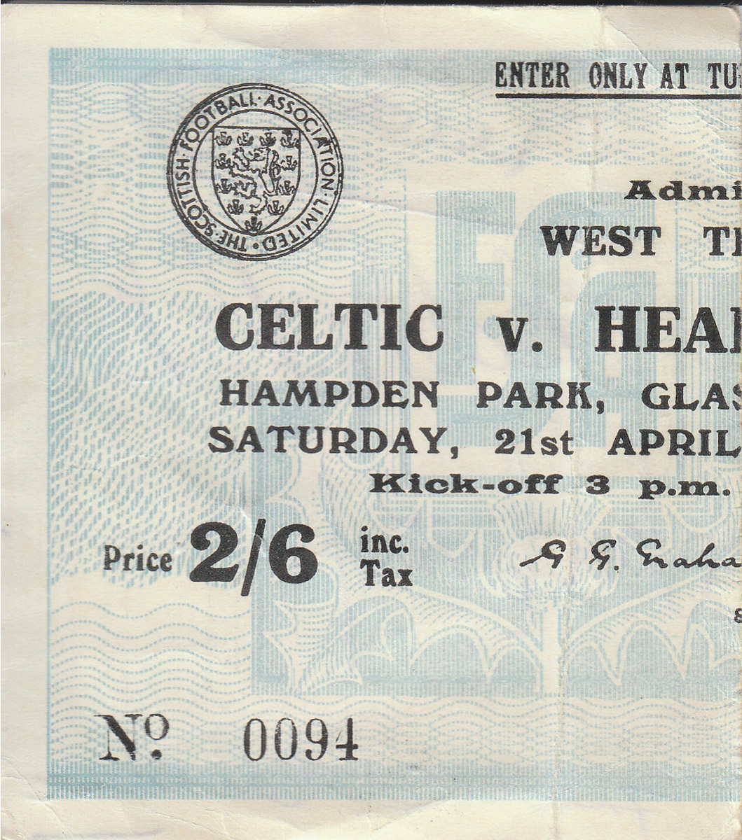 Match Ticket from 1956 Scottish Cup Final priced 2/6 with autographs