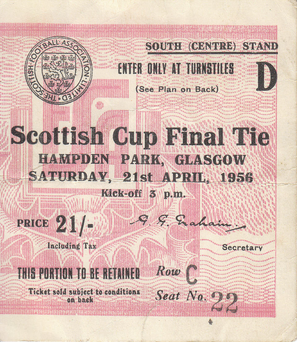 Match Ticket from 1956 Scottish Cup Final priced 21/-